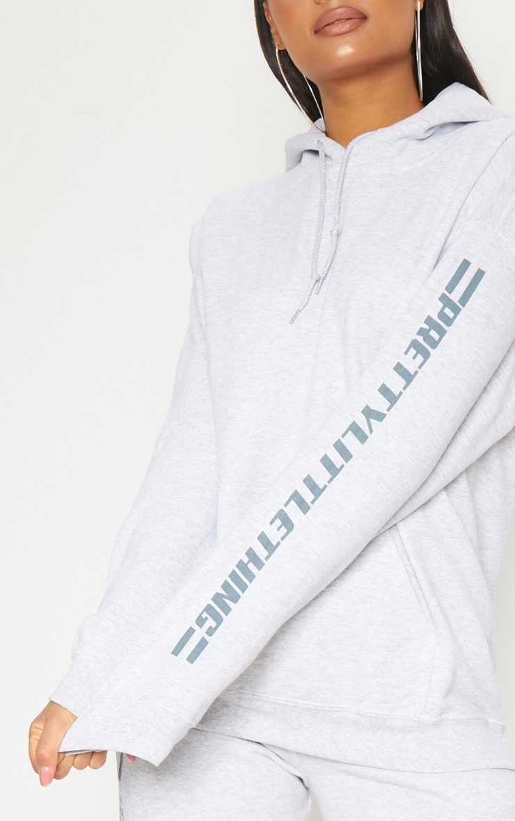 PRETTYLITTLETHING Grey Logo Stripe Oversized Hoodie 5