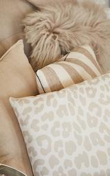 Cream Satin Leopard Print Filled Cushion 2