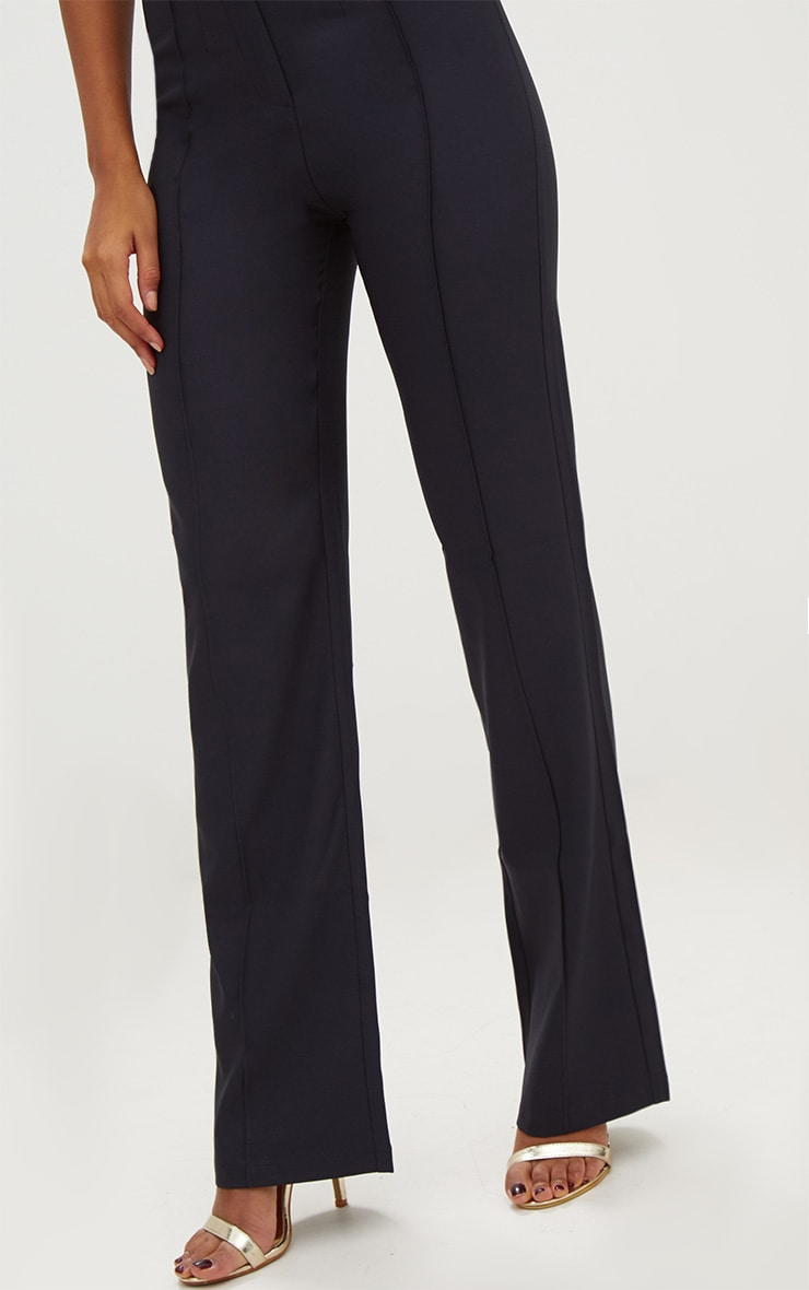 Navy High Waisted Straight Leg Trousers 5