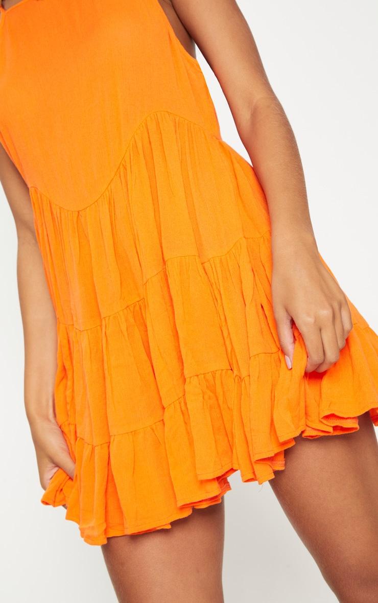 Bright Orange Cheesecloth Strappy Tiered Cami Dress 5