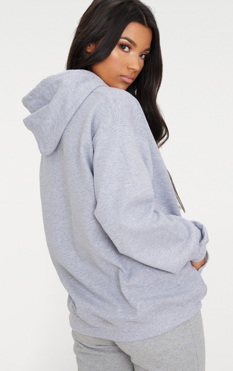 PRETTYLITTLETHING Grey Marl Embroidered Oversized Hoodie 2