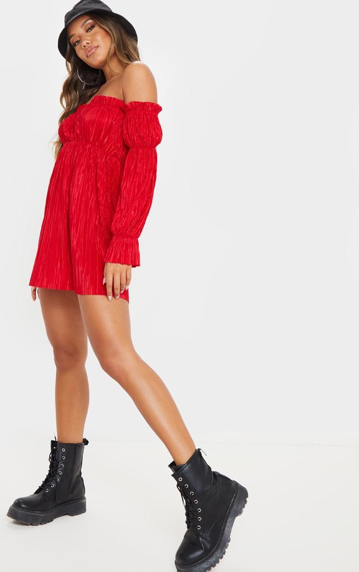 Red Plisse Bardot Shift Dress 4