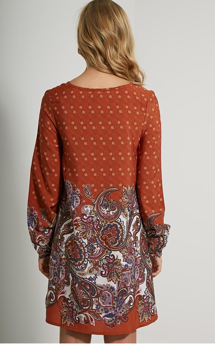 Tamzin Orange Paisley Shift Dress 2