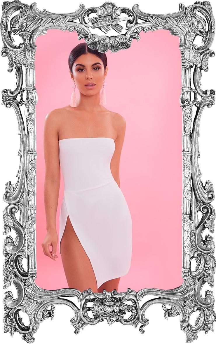 White Bandeau Extreme Split Bodycon Dress 1