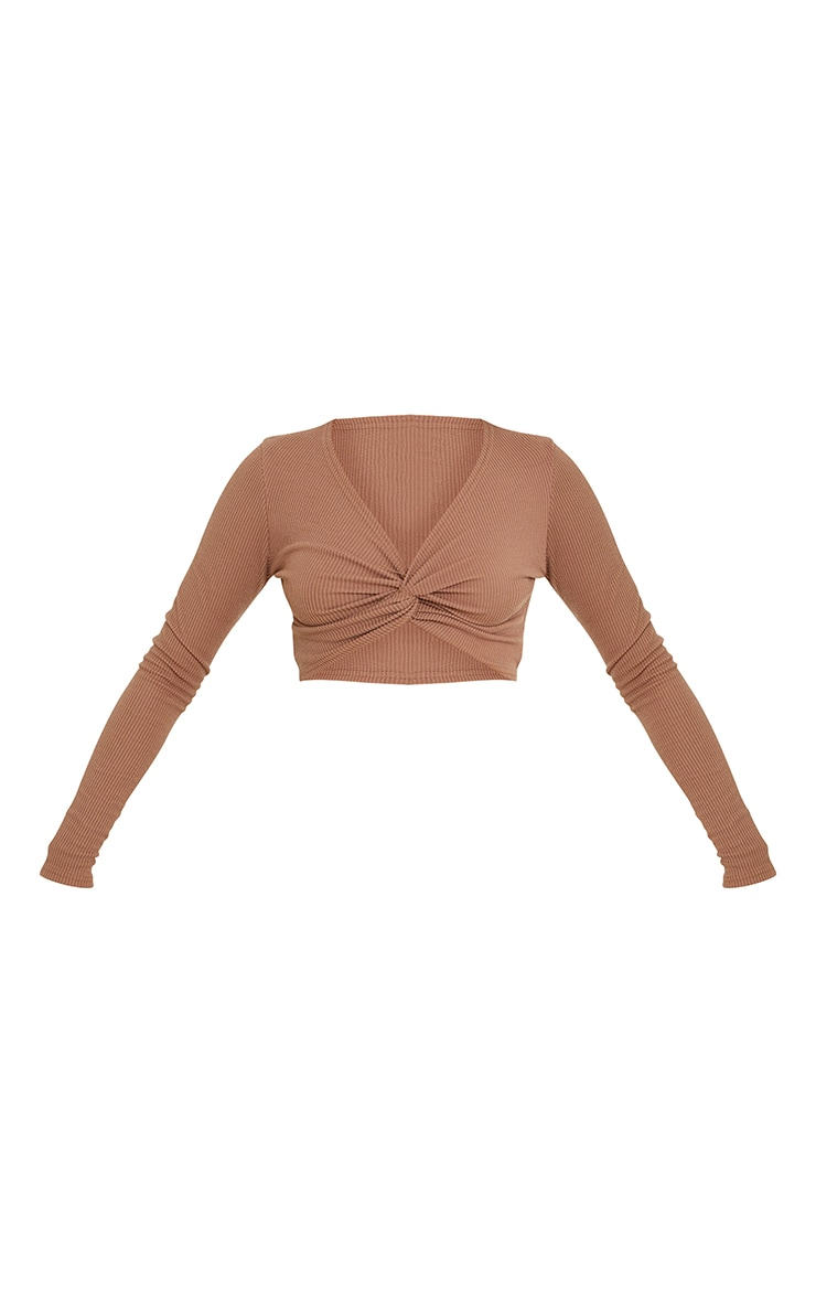 Brown Textured Rib Twist Front Long Sleeve Crop Top 5