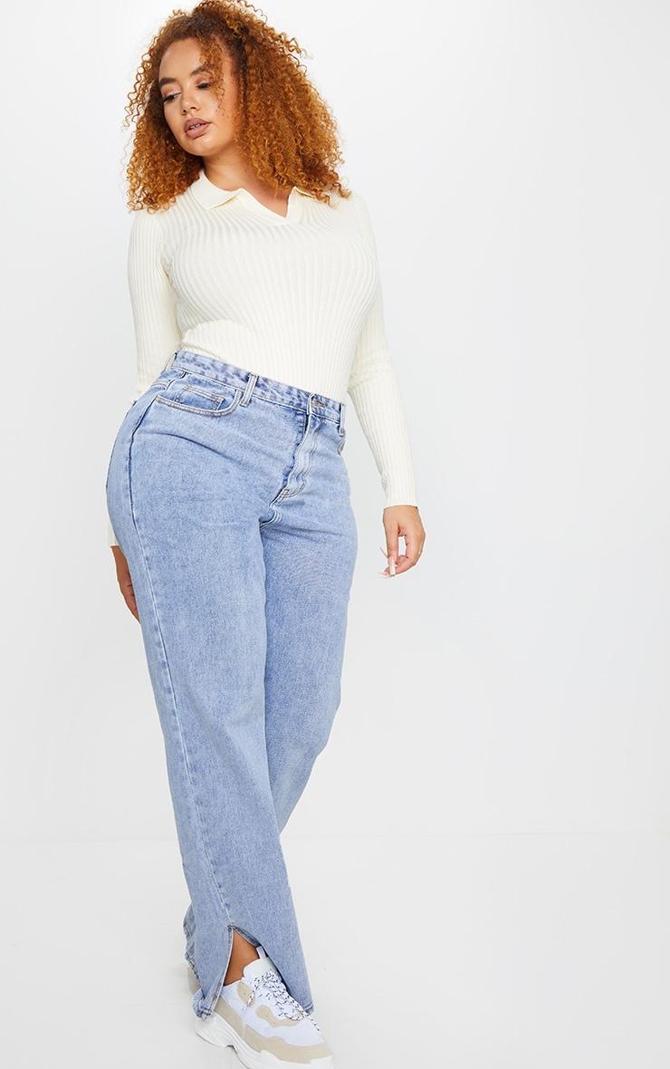 Plus Cream Knit Collar Detail Bodysuit 1