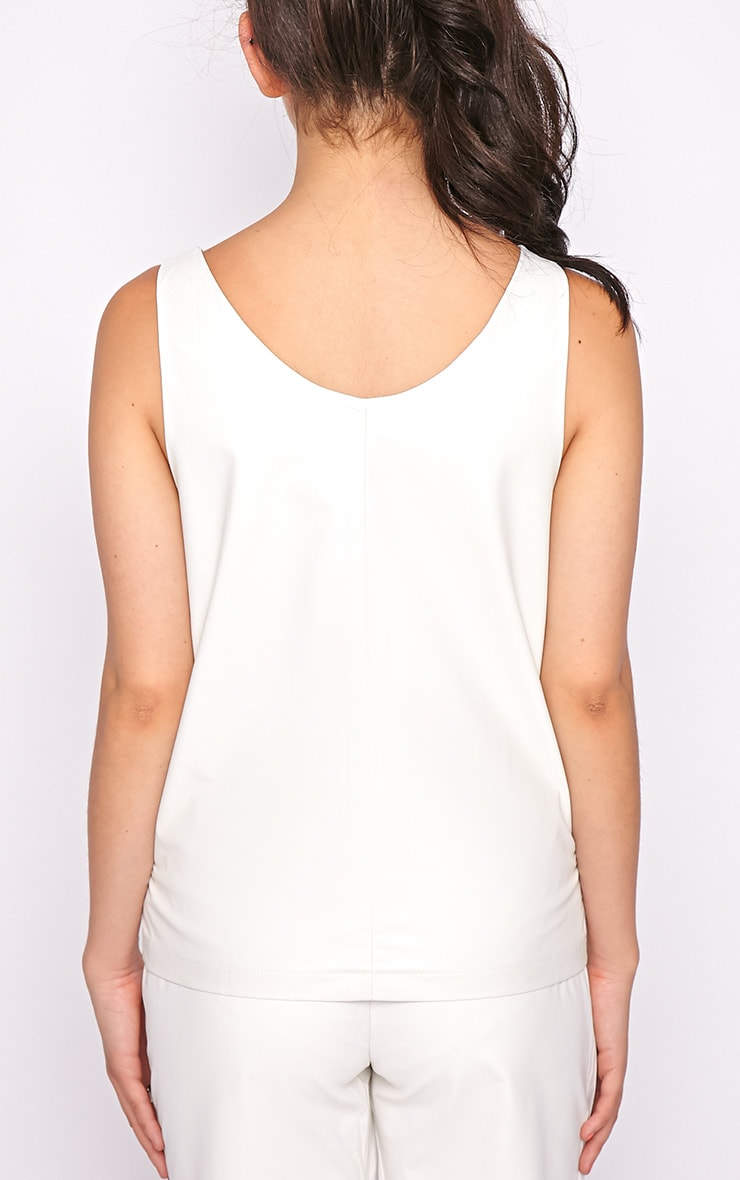 Addison White Leather Vest  2