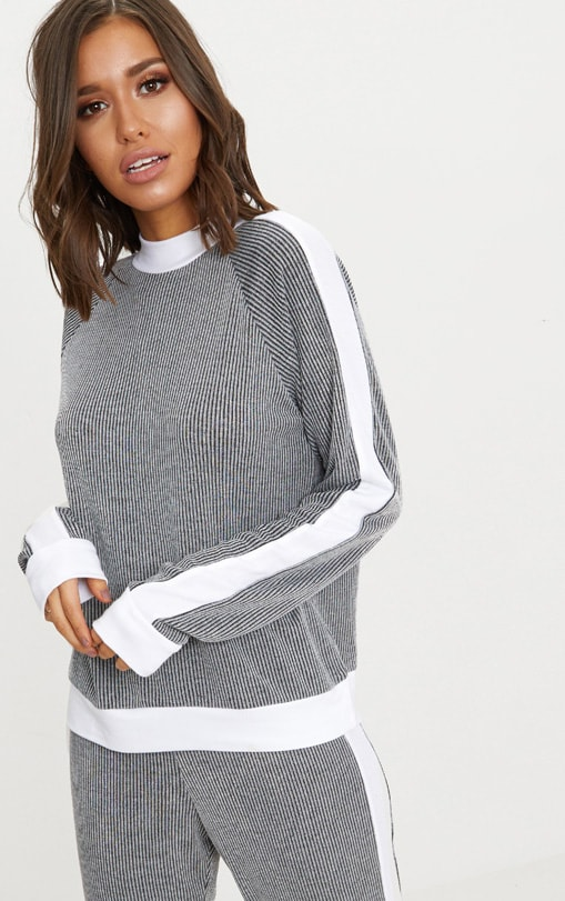 Grey Soft Rib Sweater 1