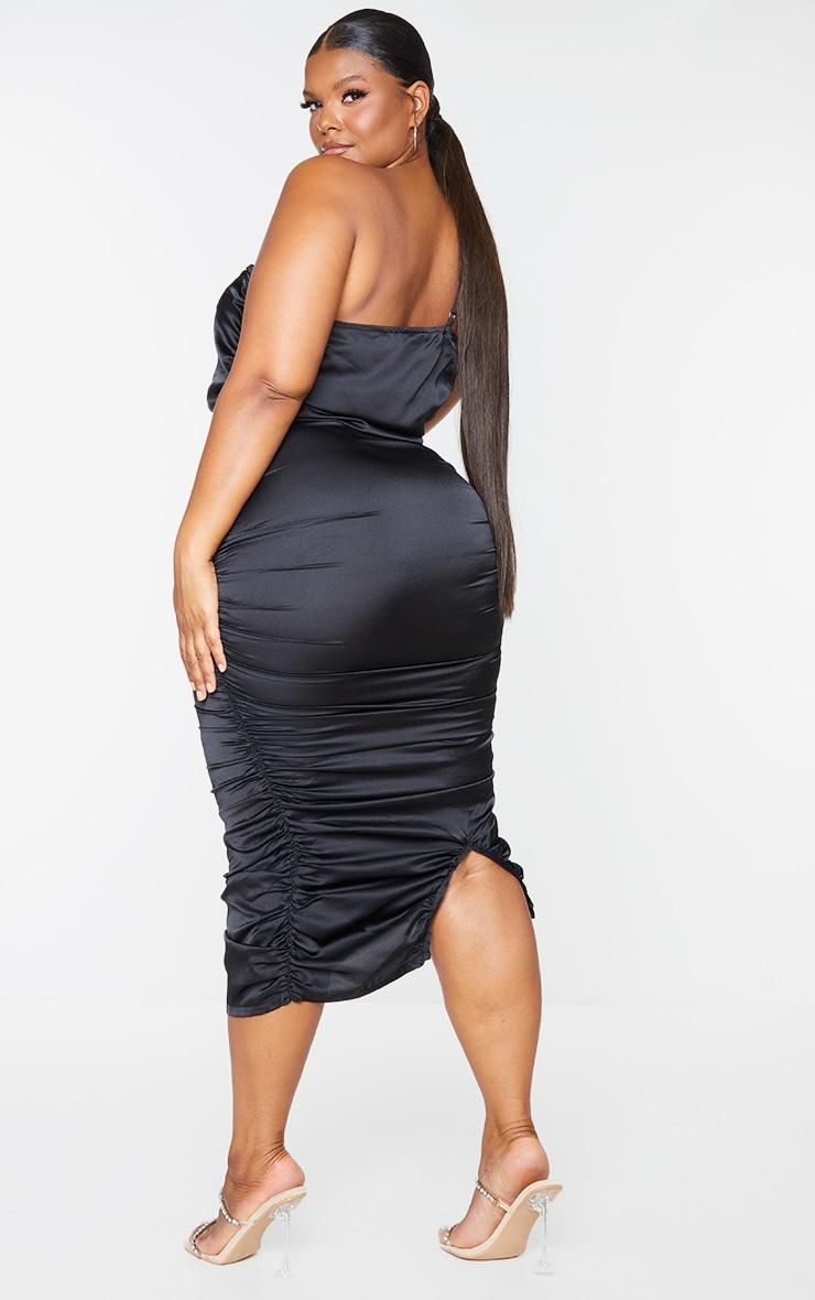 Plus Black Satin One Shoulder Midi Dress 2