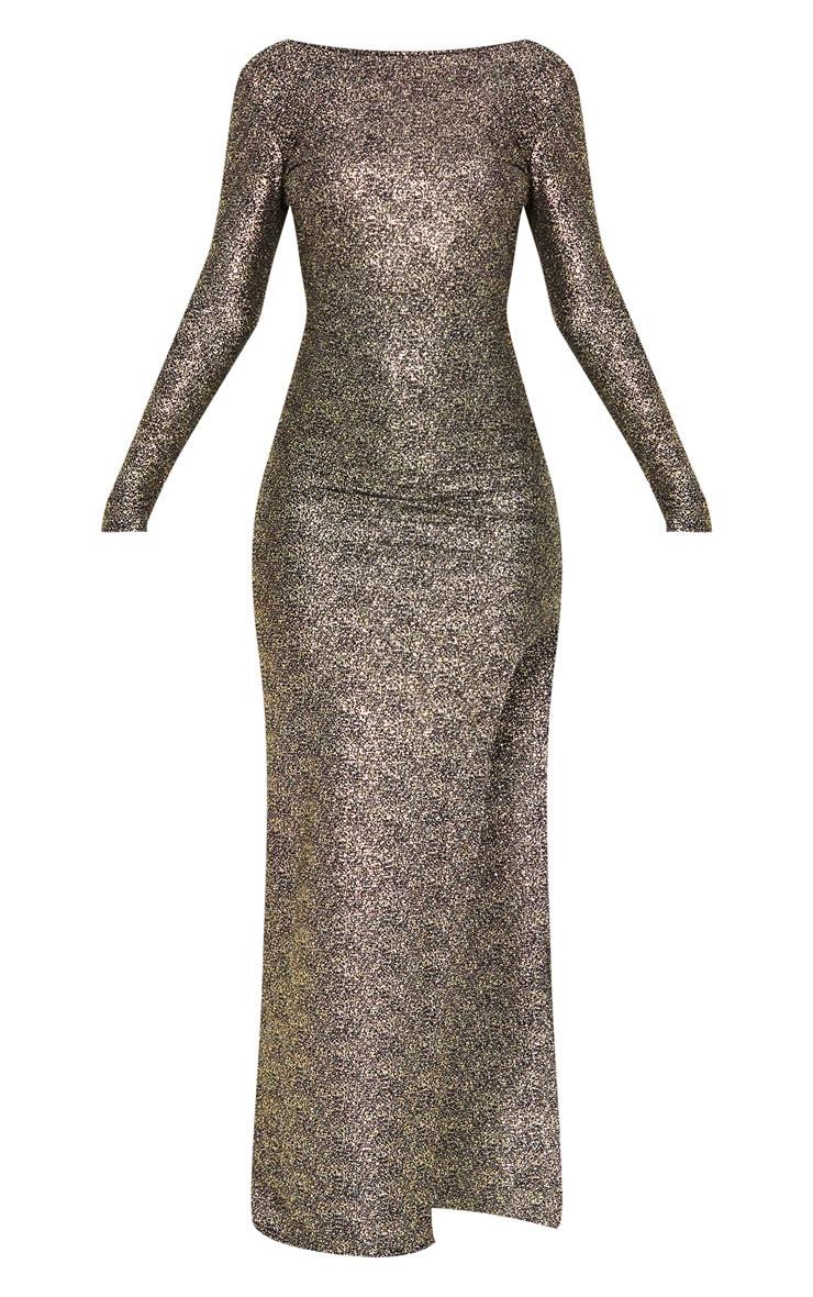 Gold Foil Backless Long Sleeve Maxi Dress 3