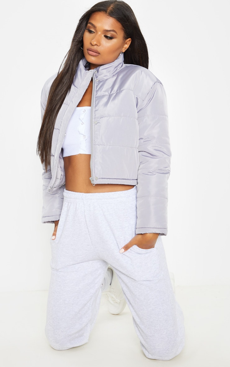 Grey Super Cropped Puffer 4