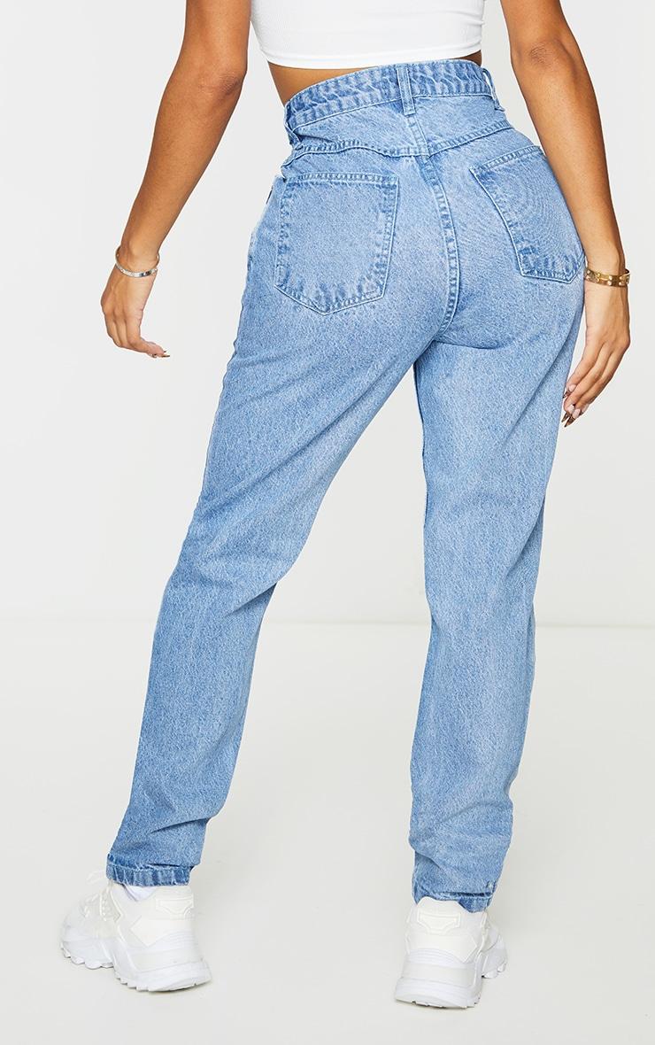 Shape Vintage Dark High Waist Extreme Ripped Straight Jeans 3