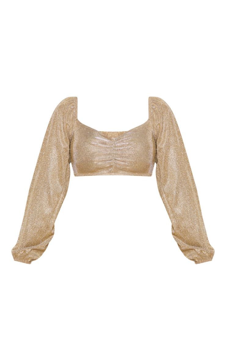Shape Gold Glitter Ruched Front Long Sleeve Crop Top 3