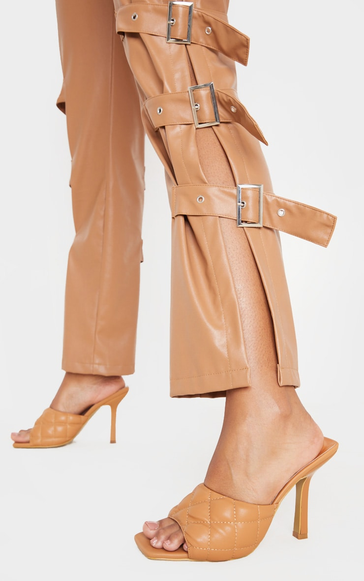 Camel Quilted High Heel Mule 2