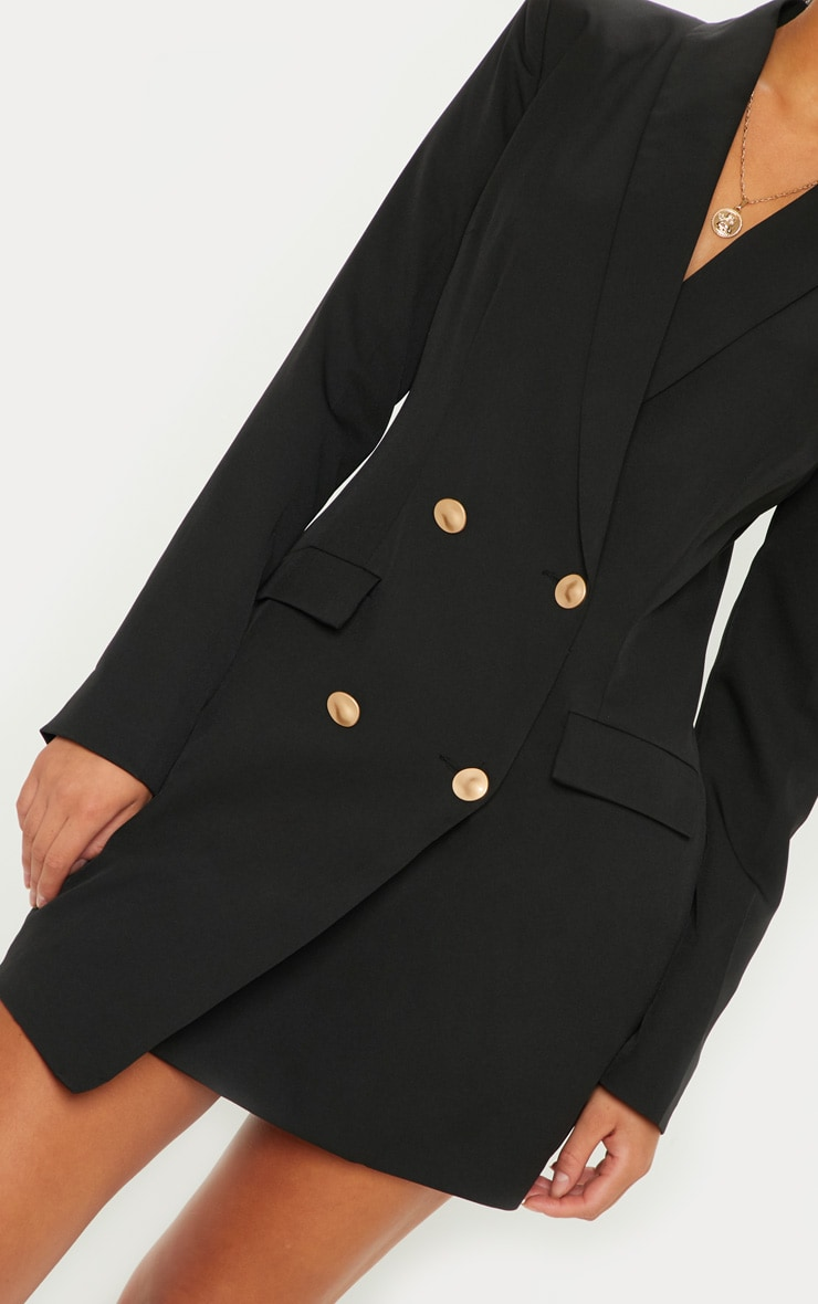 Black Gold Button Blazer Dress 5