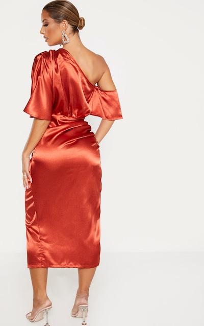 Rust Satin One Shoulder Ruched Skirt Midi Dress