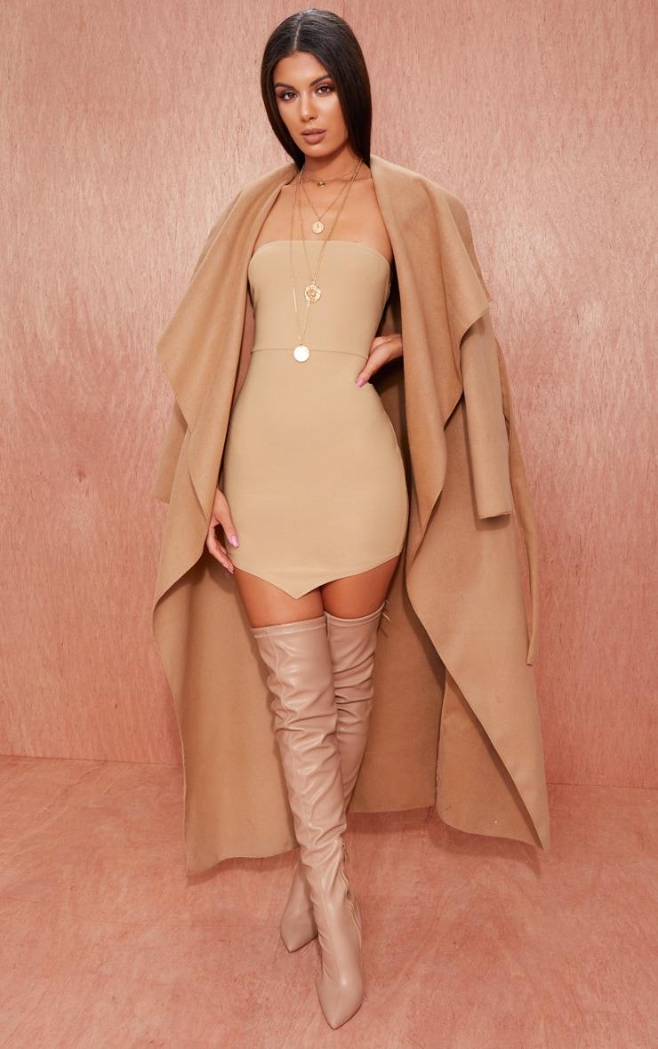 Camel Bandeau Pointy Hem Bodycon Dress 4