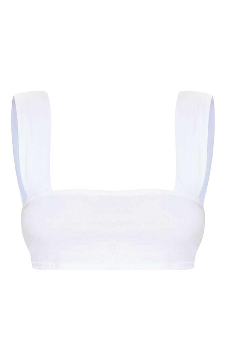 Basic White  Cotton Strap Bralet 5