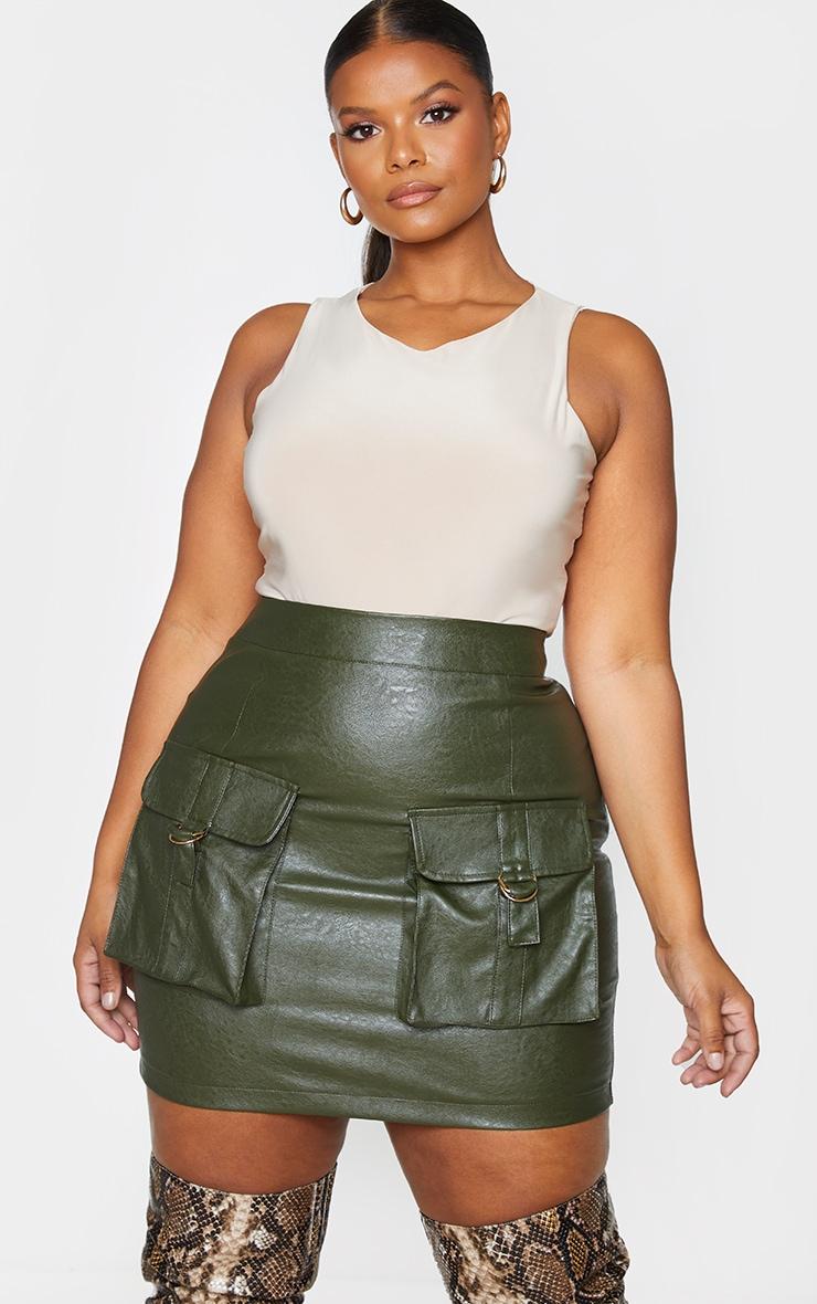 Plus Khaki Faux Leather Buckle Detail Bodycon Skirt 4