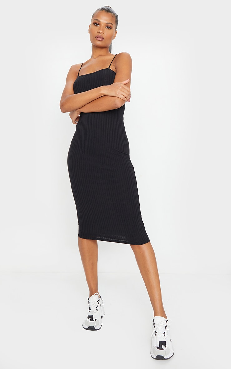 Black Ribbed Strappy Midi Dress 1