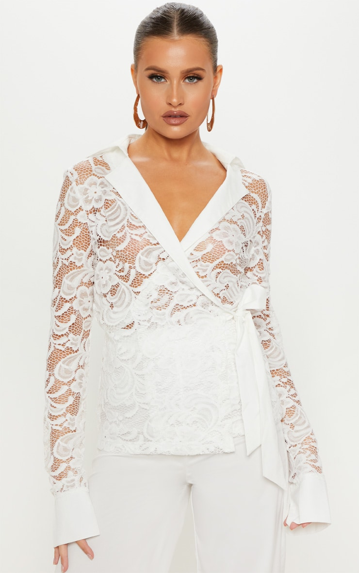 White Lace Tie Waist Shirt