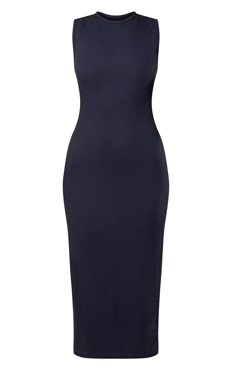 Black Recycled Wide Rib Split High Neck Midi Dress 5