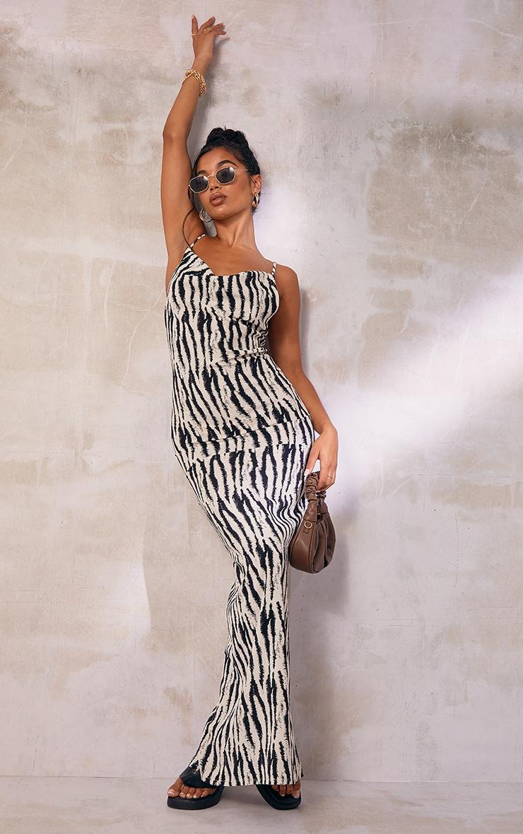 White Zebra Print Satin Cowl Neck Maxi Dress 1