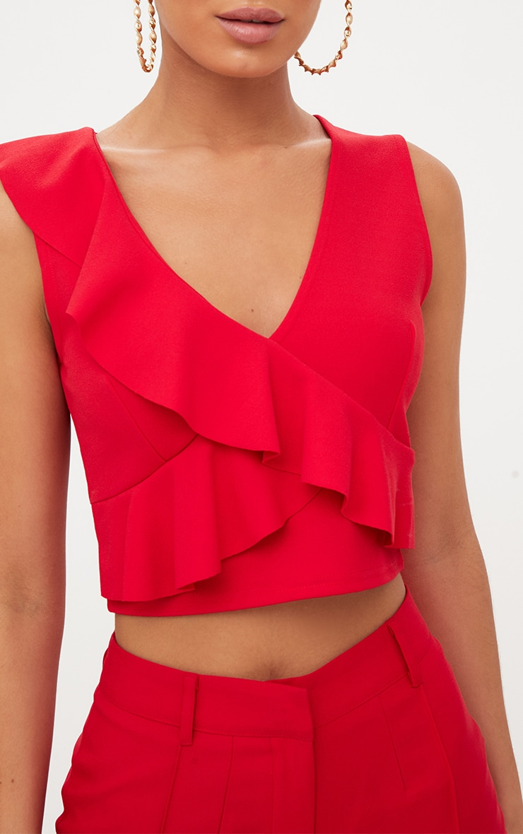 Red Wrap Frill Crop Top  5