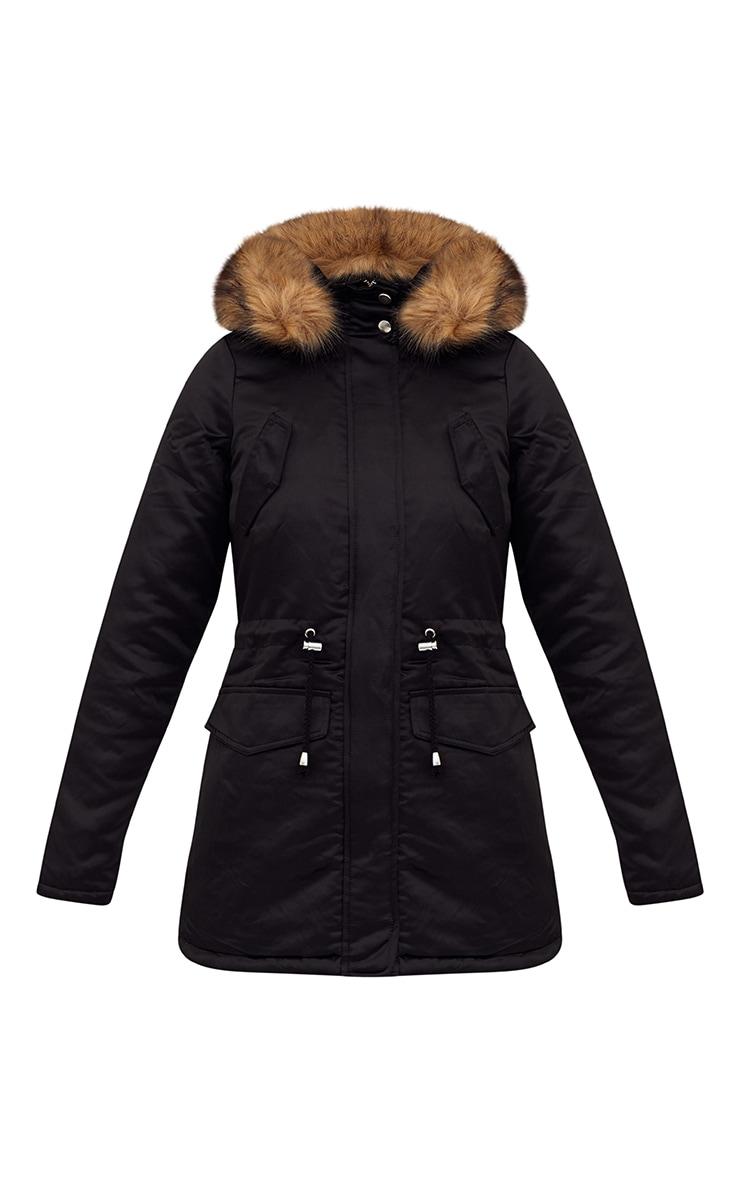 Black Satin Faux Fur Collar Parka Jacket 3