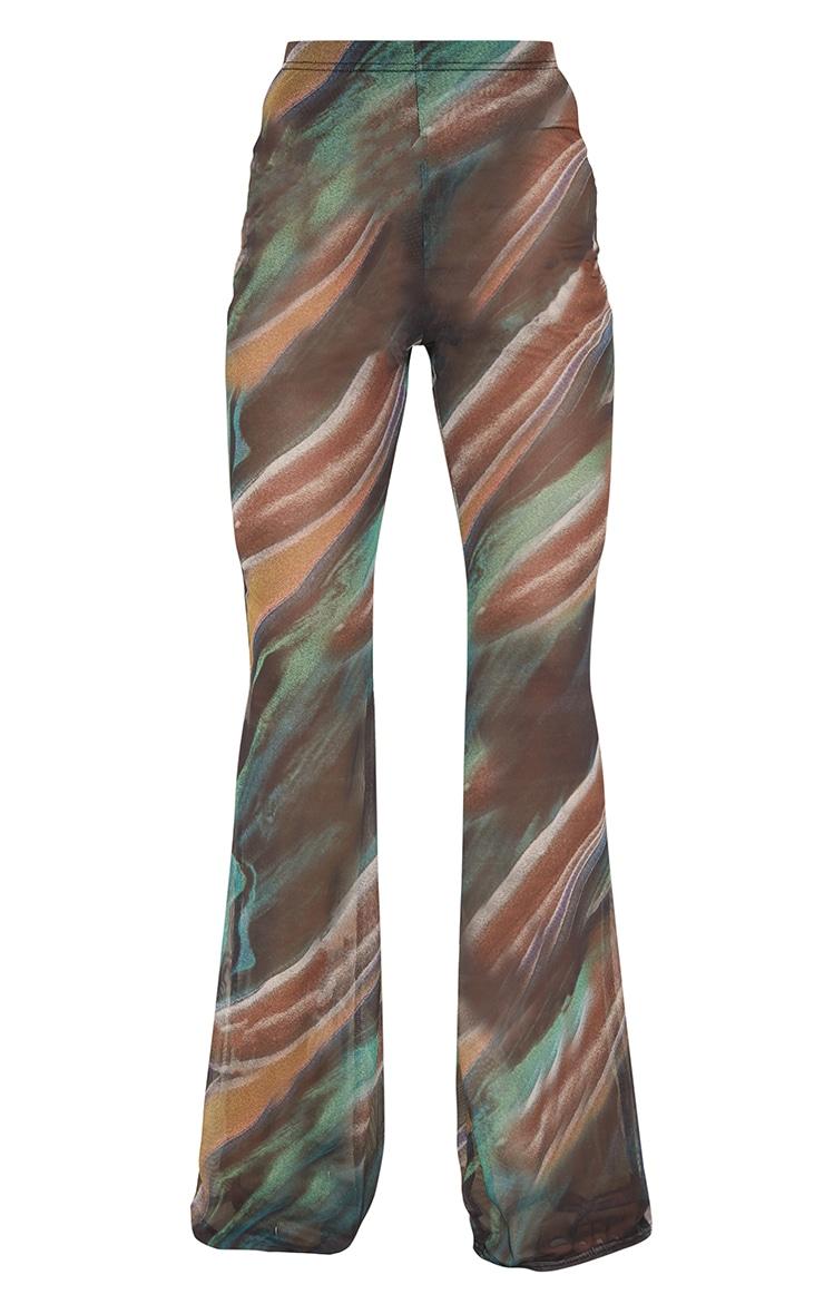 Green Swirl Printed Sheer Mesh Flared Pants 5