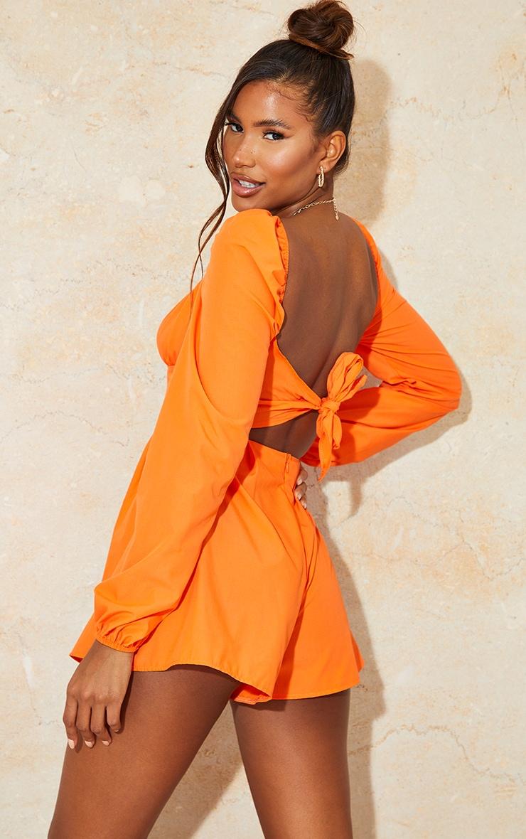Bright Orange Tie Back Long Sleeve Romper 1