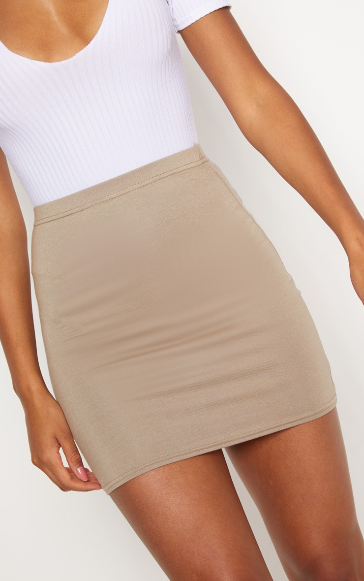 Basic Taupe Jersey Mini Skirt 6