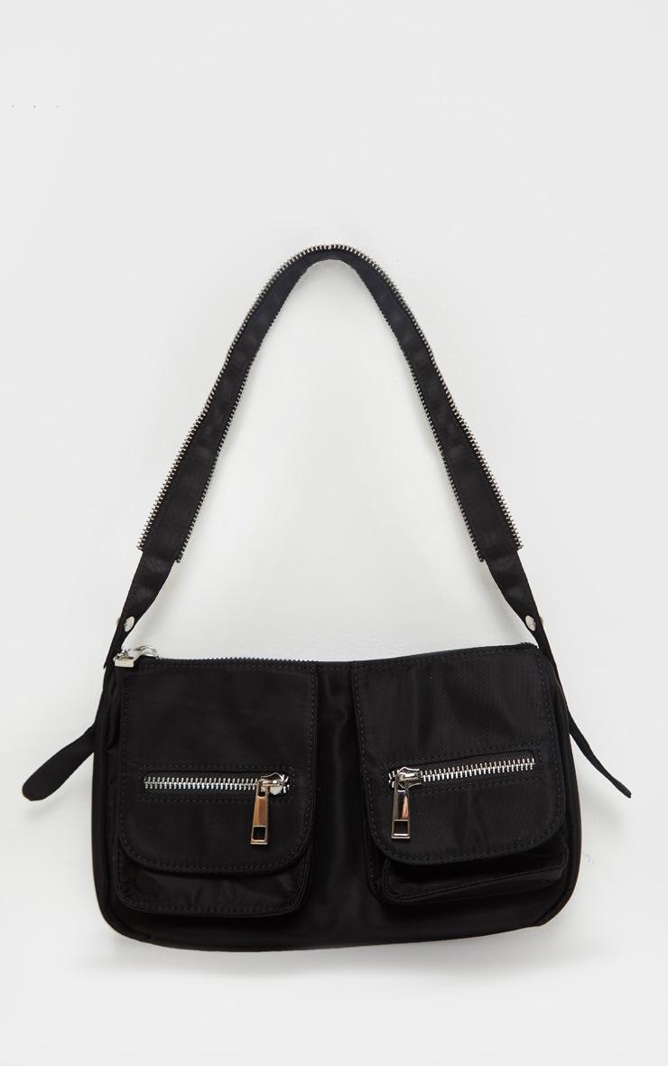Black Nylon Double Pocket Shoulder Bag 2