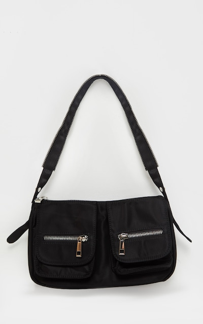 Black Nylon Double Pocket Shoulder Bag