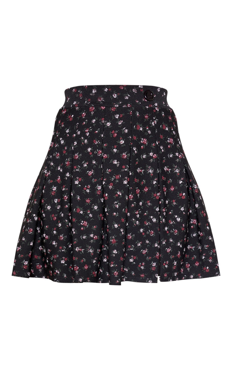 Black Floral Tennis Side Split Skirt 3
