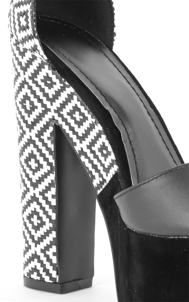 Shona Black Heeled Sandal with Aztec Print Heel 2