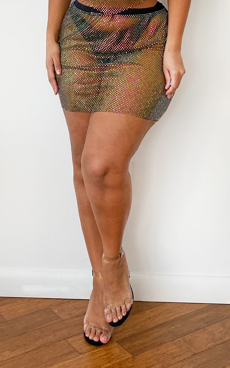 Plus Multi Diamante Mesh Mini Skirt 2