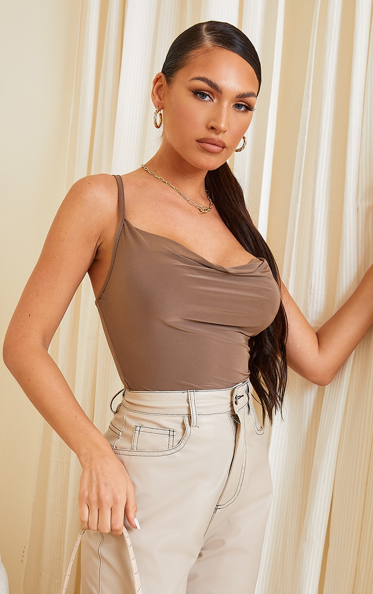 Chocolate Soft Touch Cowl Neck Bodysuit 1