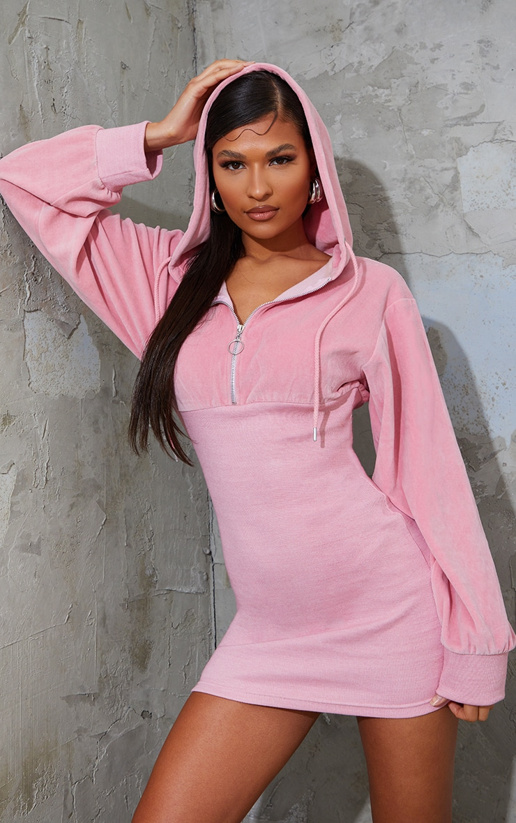Baby Pink Velour Contrast Rib Hooded Jumper Dress 1