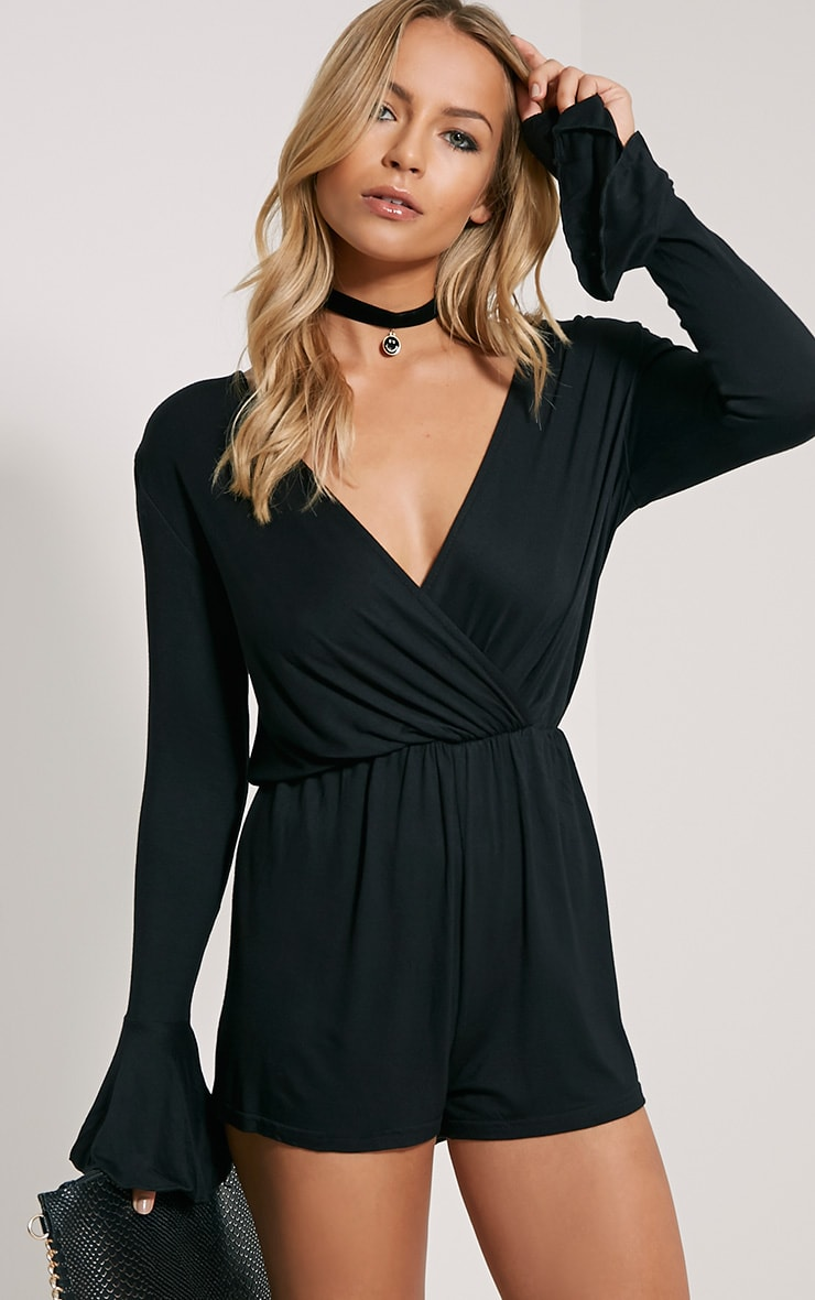 Regan Black Jersey Bell Sleeve Playsuit 1