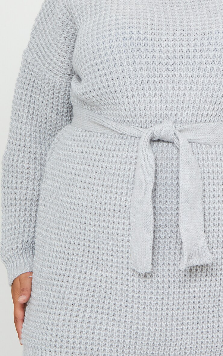 Plus Light Grey Soft Touch Belted Knitted Sweater Dress 4
