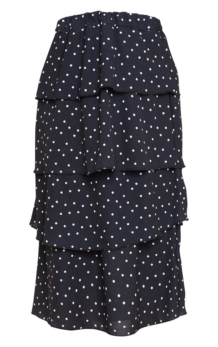 Black Polka Dot Tiered Midi Skirt 5