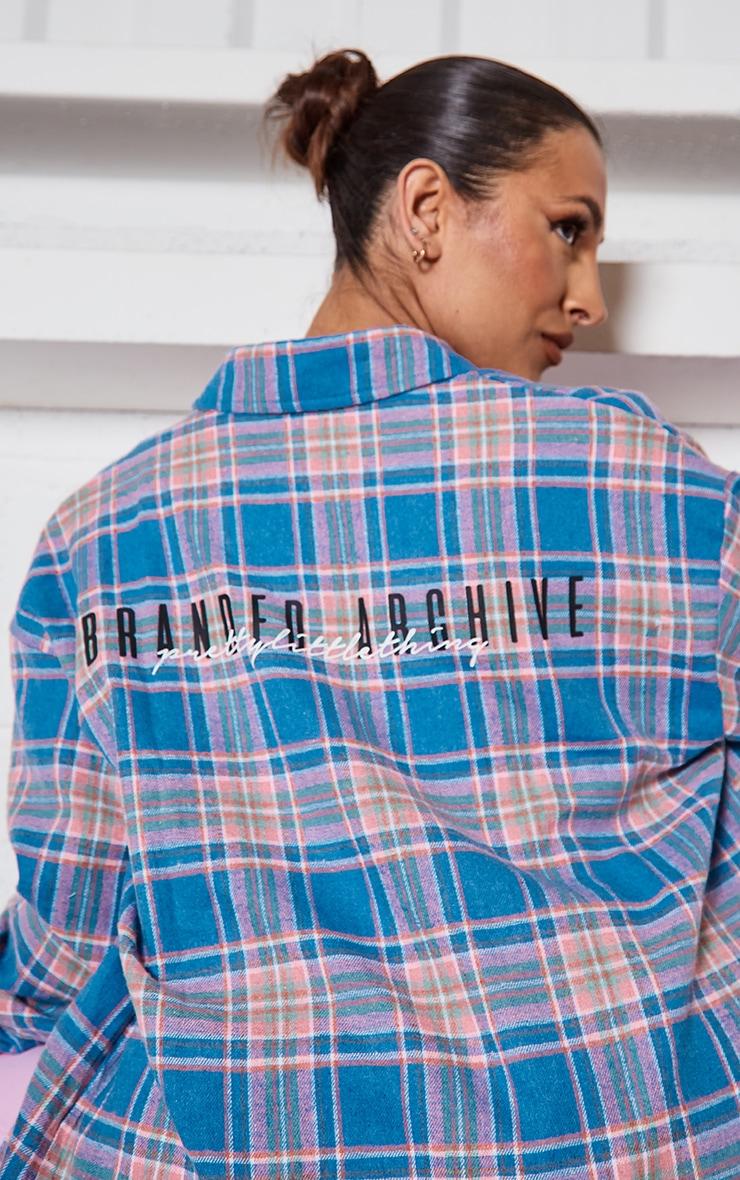 PRETTYLITTLETHING Blue Back Print Checked Oversized Shirt 4