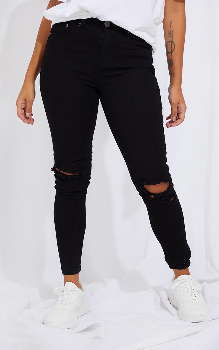 Petite Black Knee Rip Slim Jean 2