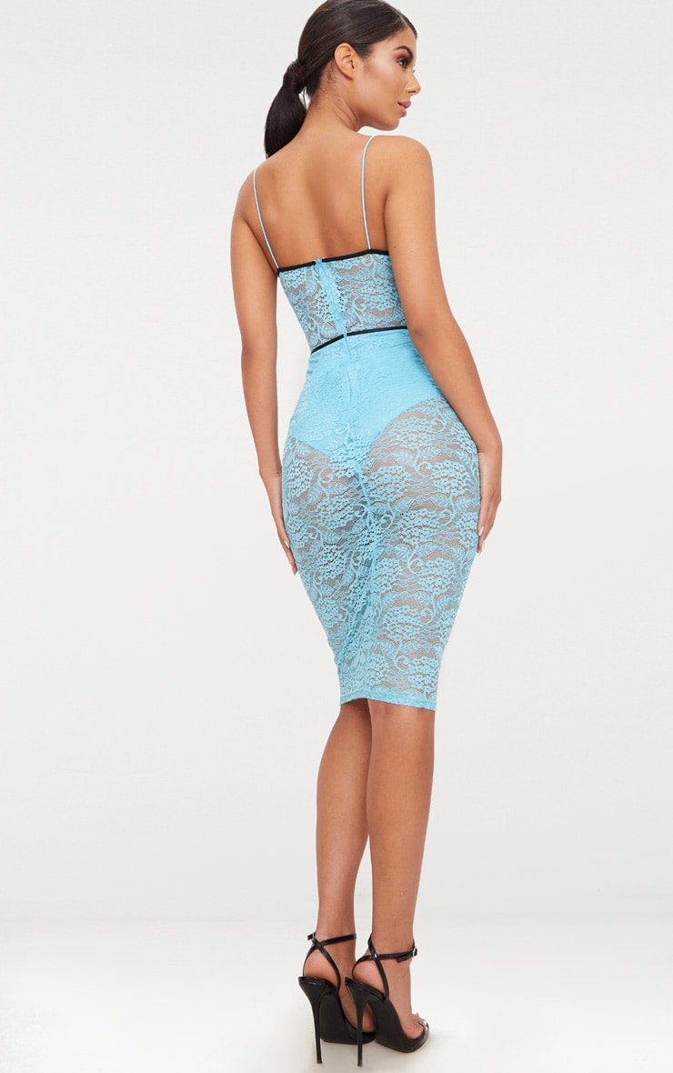 Pale Blue Strappy Contrast Piping Lace Midi Dress 2