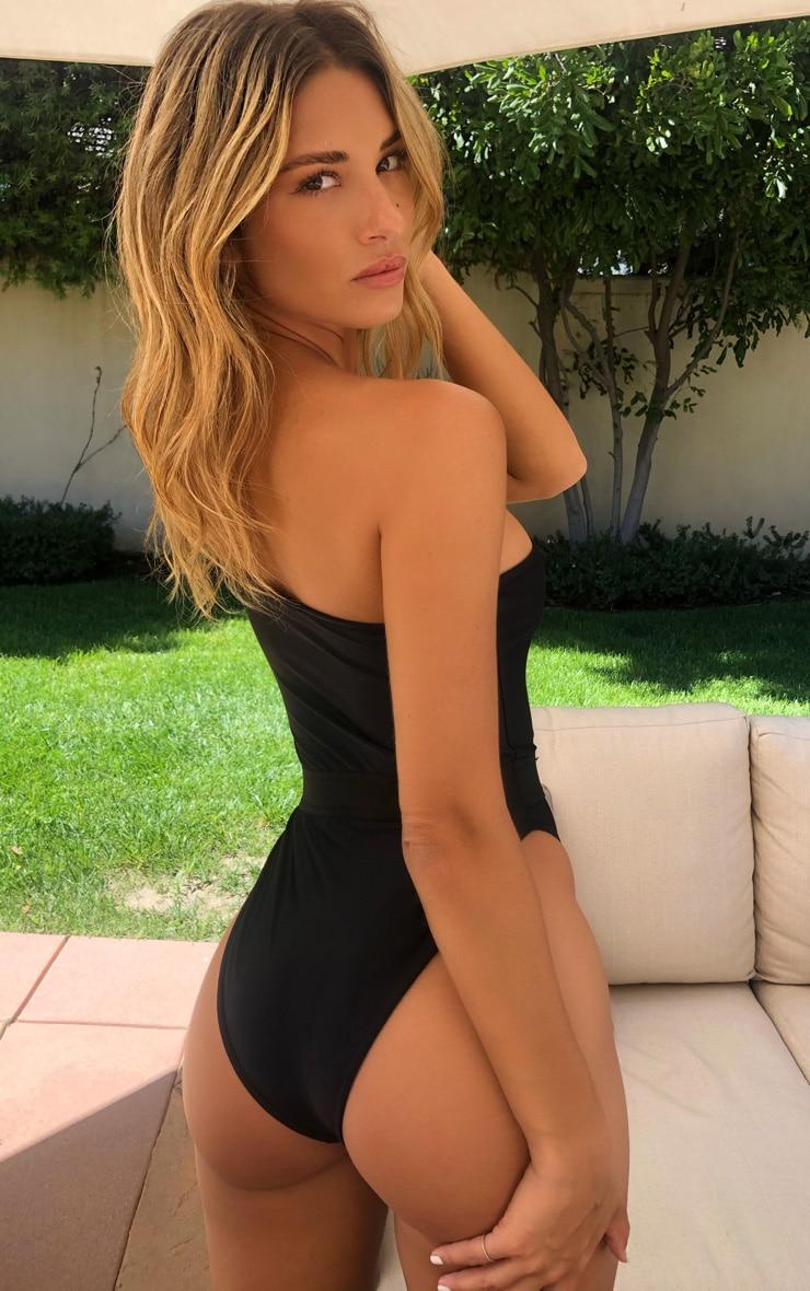 Black One Shoulder Elastic Waist Swimsuit 2