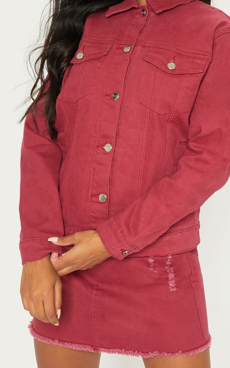Burgundy Distressed Boyfriend Fit Denim Jacket 5