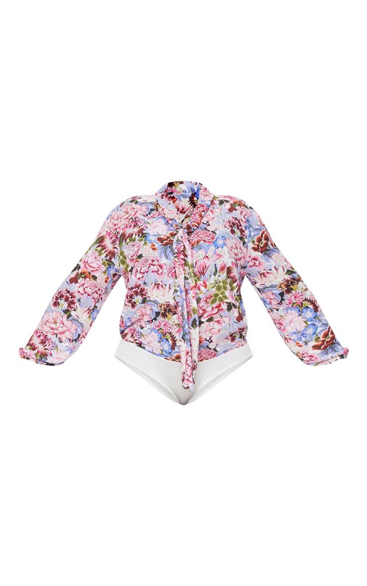 Plus Pink Floral Print Blouse Bodysuit 3