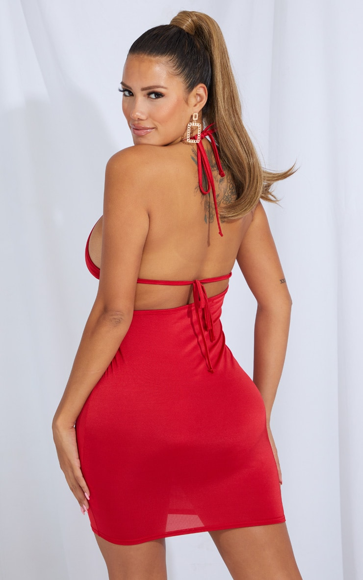 Shape Red Slinky Cut Out Tie Detail Bodycon Dress 2
