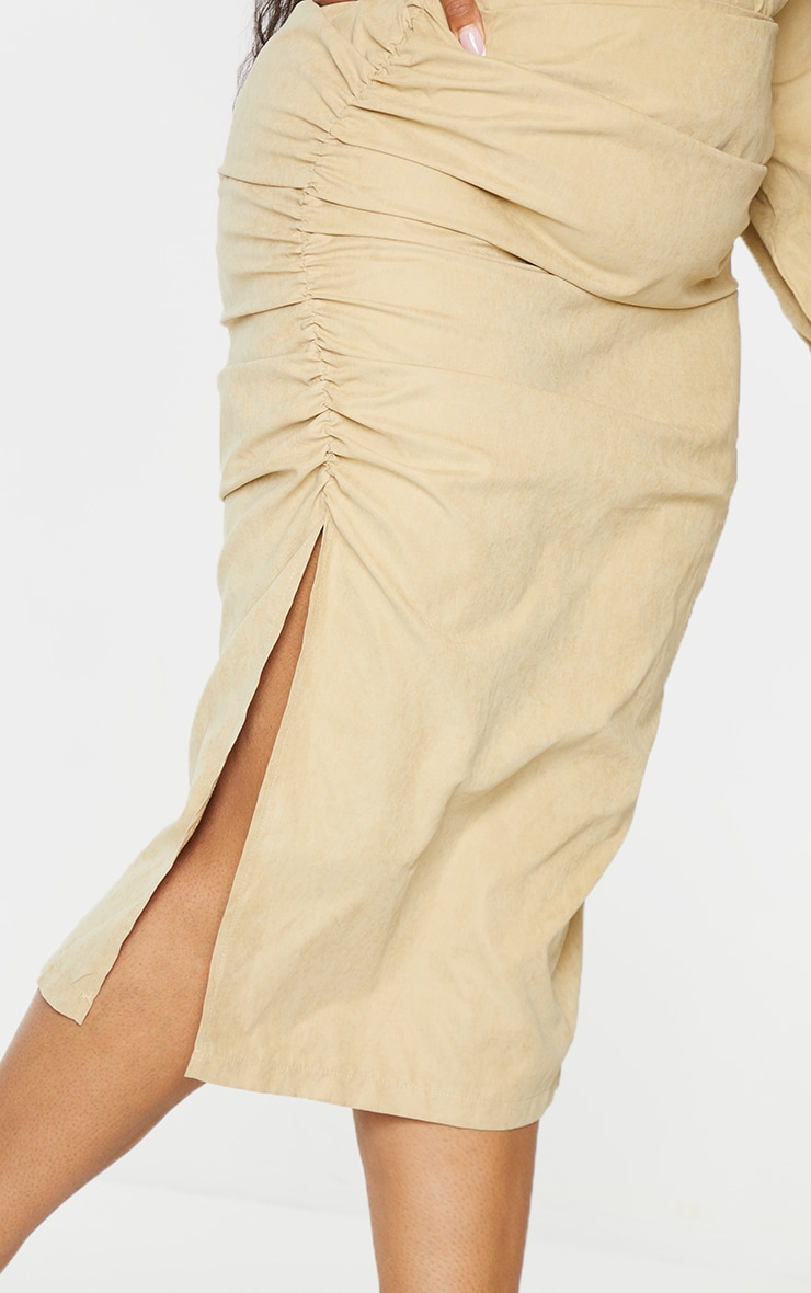 Plus Stone Suede Textured Ruched Midi Skirt 4
